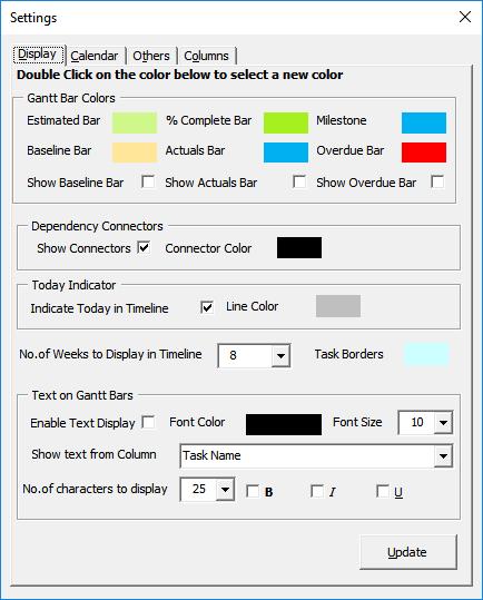 Gantt Excel Settings