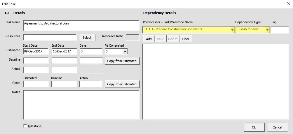 Gantt Excel Dependencies